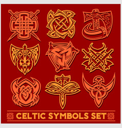 set of celtic symbols icons vector image
