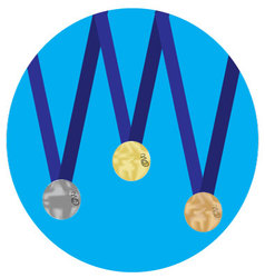 Set of medals gold silver bronze icon vector image