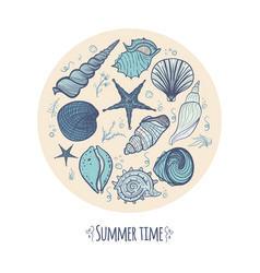 set of seashells in a circle vector image
