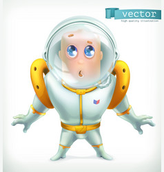 astronaut in spacesuit funny character icon 3d vector image vector image
