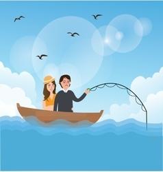 couple man woman fishing on boat romance romantic vector image vector image