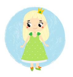 cute princess little baby girl in queen crown vector image