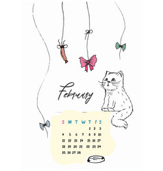 doodle kitty calendar for february 2018 vector image