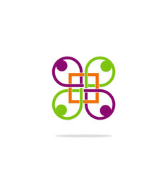 geometry group people connection logo vector image