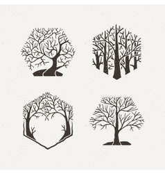 Hexagon trees set Pattern vector image vector image