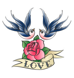 love tattoo with swallows and rose vector image vector image