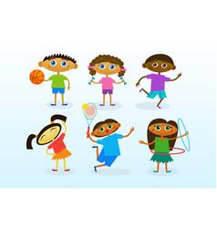 Mix race kids group cheerful diverse children vector