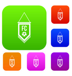 pennant with soccer ball set color collection vector image