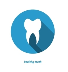 Tooth in circle flat style icon long shadow vector image vector image