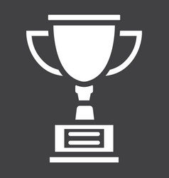 Trophy cup solid icon winner and award vector