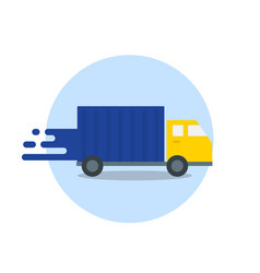 Truck in motion express delivery fast shipping vector