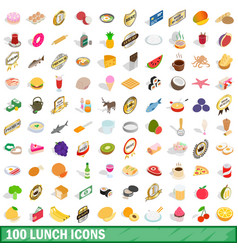 100 lunch icons set isometric 3d style vector image