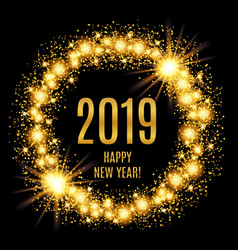 2019 happy new year glowing gold background vector