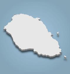 3d isometric map graciosa is an island vector