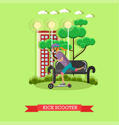 A girl riding kick scooter vector