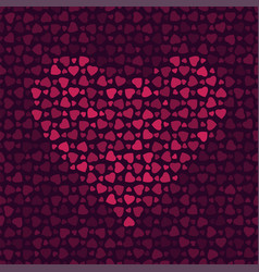 abstract pattern with hearts on dark background vector image