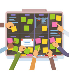 Agile project plan hands holding and put notes on vector