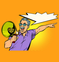 an elderly man with a megaphone vector image