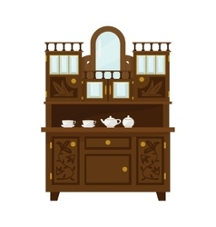 Antique Wooden Cupboard With China vector