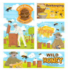 apiarist beekeeping farm and beehive vector image