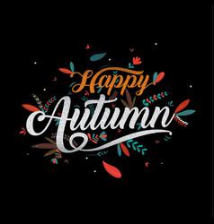 autumn happy thanksgiving typography icon vector image