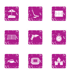 Baby play icons set grunge style vector