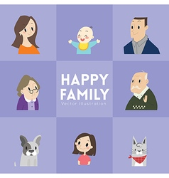Big happy family cartoon portrait vector