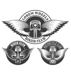 Biker club emblem set vector