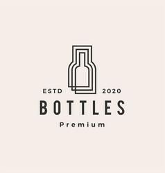 Bottle hipster vintage logo icon vector