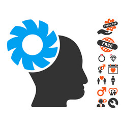 brain wheel icon with dating bonus vector image