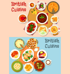 British cuisine popular dishes icon set design vector