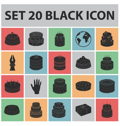 cake and dessert black icons in set collection for vector image