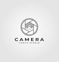 Camera lens photography logo with nature mountain vector
