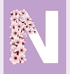 Capital letter n patterned with cherry blossom vector