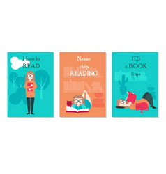 card set with young woman reading book vector image