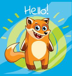 Cartoon fox hello vector