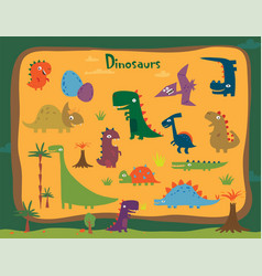 Cartoon funny dinosaurs vector