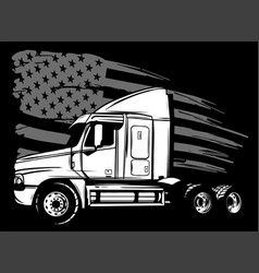 Cartoon semi truck in black background vector