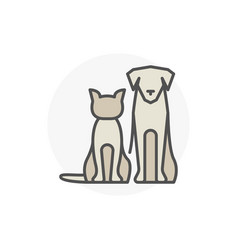 Cat with dog icon vector