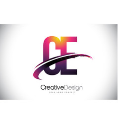 Ce c e purple letter logo with swoosh design vector