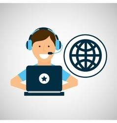 character headset laptop globe programming vector image