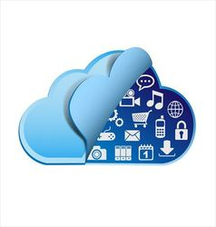 Cloud computing with apps vector image