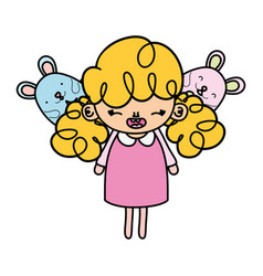 Color happy girl child with mice animals vector
