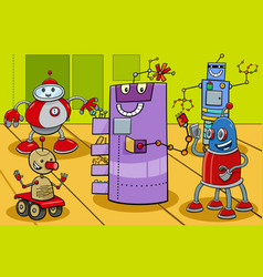 comic robot characters group cartoon vector image