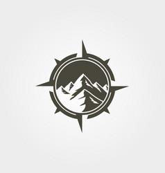 Compass mountain outdoor logo vintage symbol vector