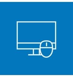 Computer monitor and mouse line icon vector image