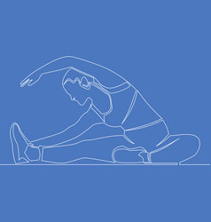 continuous line woman stretching sport concept vector image