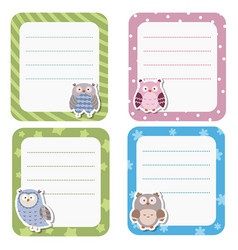 Cute cards or stickers with owl cute cards or vector