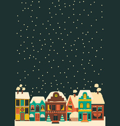 cute cartoon little town in christmas time vector image