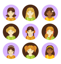 cute little girls with various hair style vector image